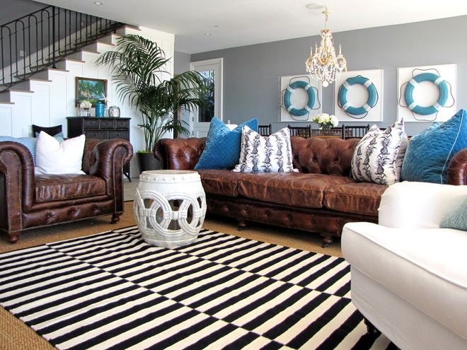 My Houzz Cool And Coastal Newport Beach Home Leather Couches Living Room Brown Living Room Brown Sofa Living Room