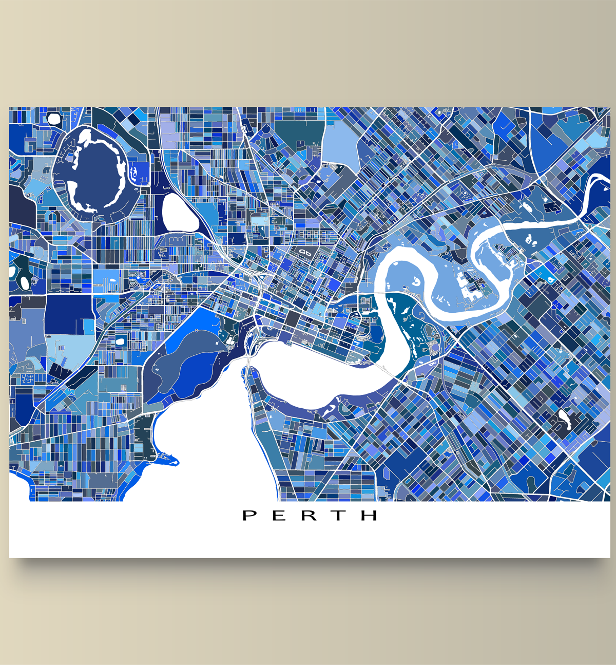 Perth map art print featuring the city