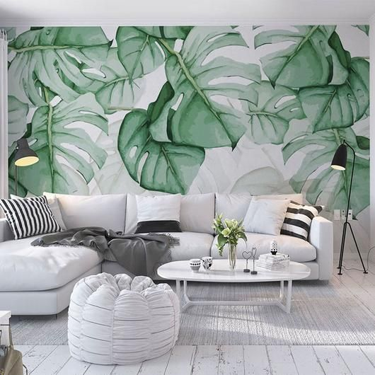 Forest Bloom Mural Wallpaper M With Images Natural Home Decor Home Wallpaper Green Leaf Wallpaper
