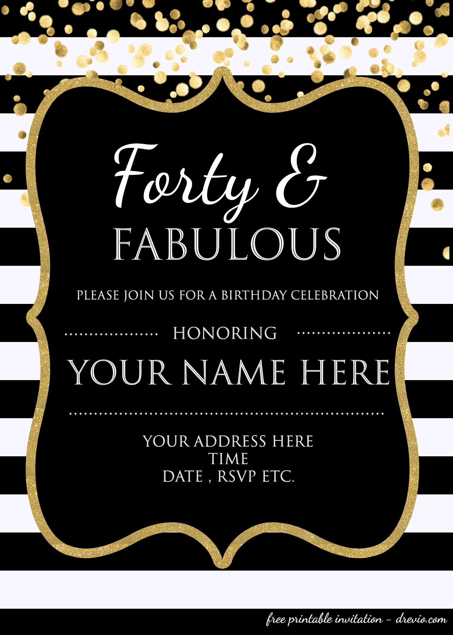 Forty Fabulous 40th Birthday Invitation Template Psd Editable 50th Birthday Party Invitations Party Invite Template 40th Birthday Party Invites