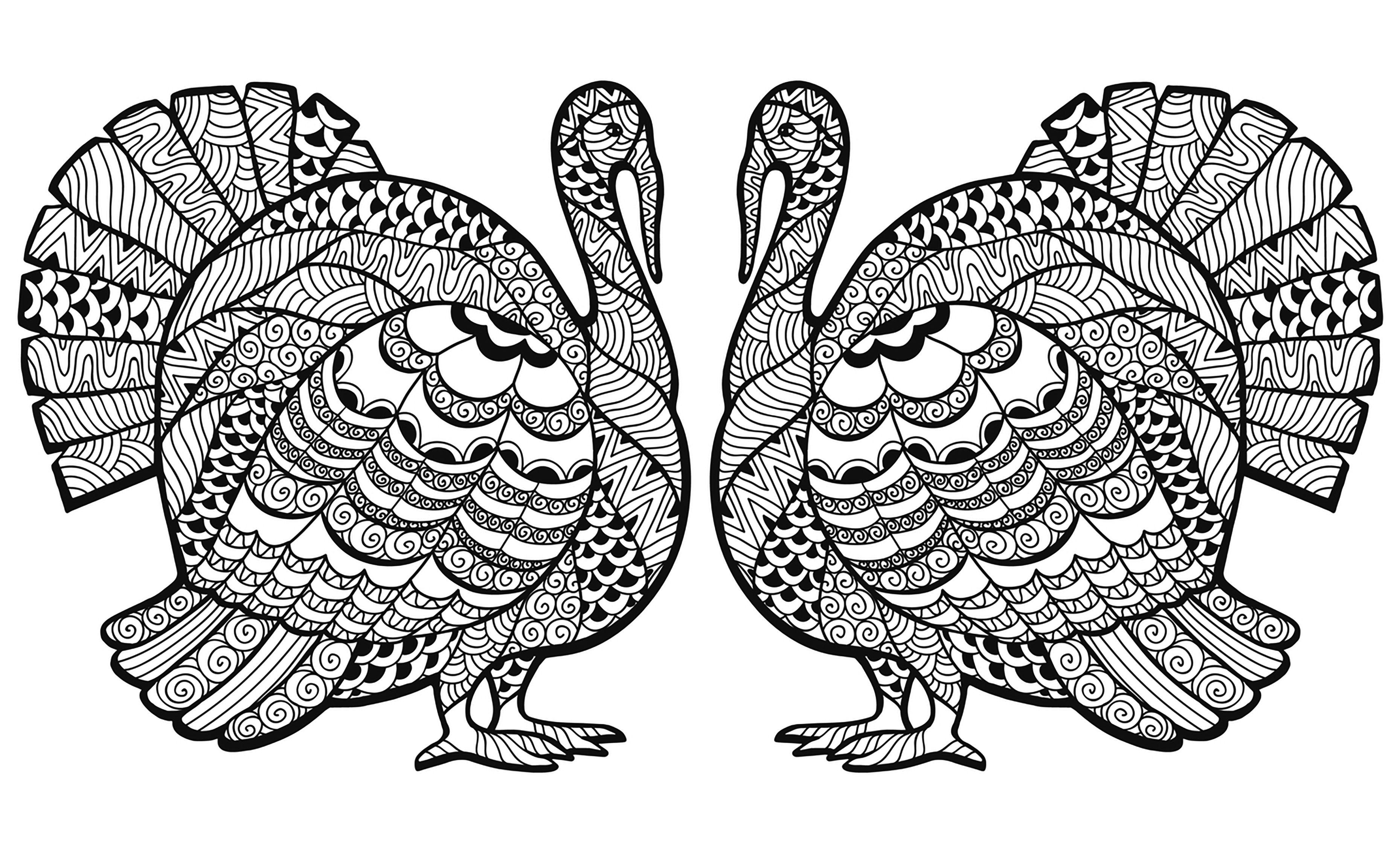 A double Zentangled Turkey, to color for the Thanksgiving day ...
