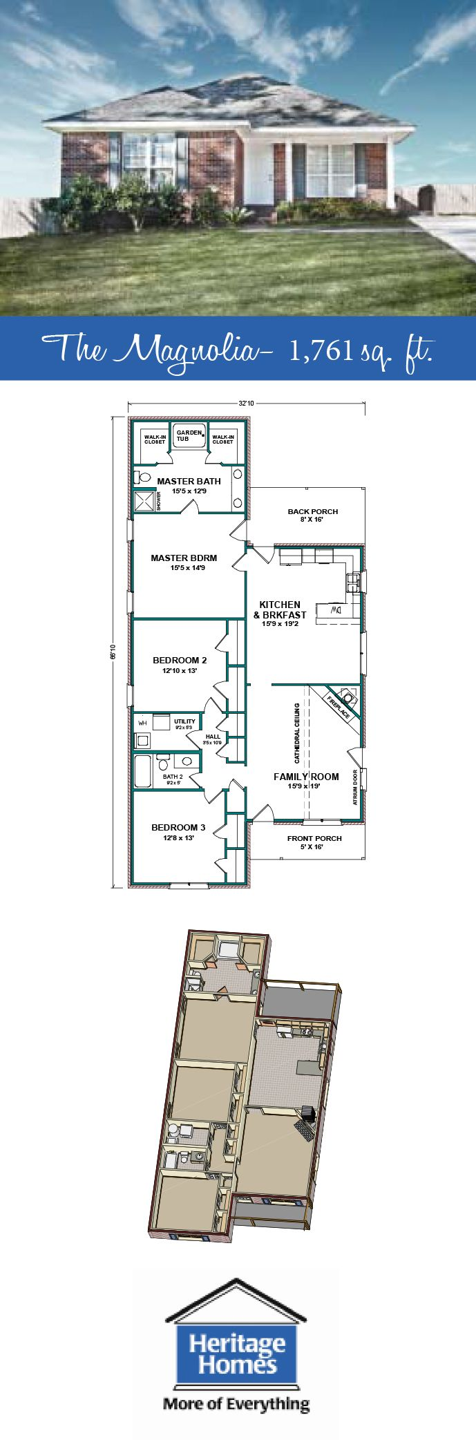 1 700 1 800 Sq Ft Narrow Lot Floor Plan The Magnolia Is A 1 761 Sq Ft Home With 3 Beds 2 Baths Narrow Lot Plan House Plans Floor Plans House Floor Plans