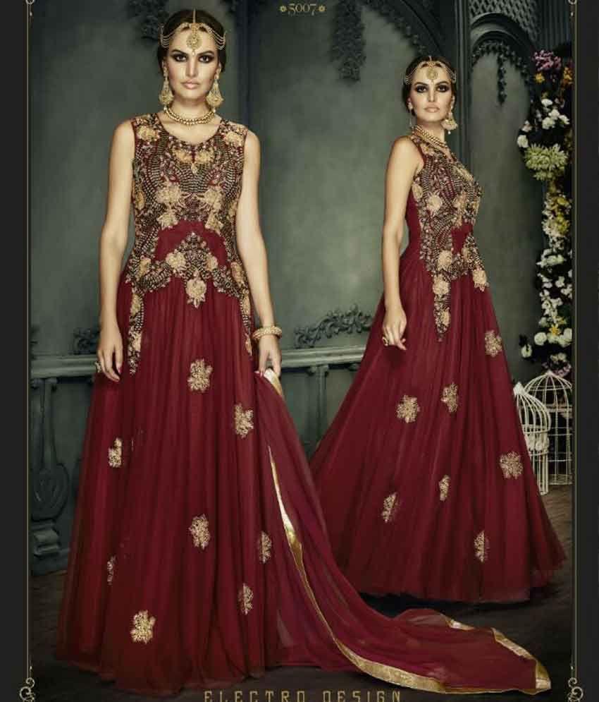 Maroon Colour Splendid Gown Style Anarkali Suit Net Gowns