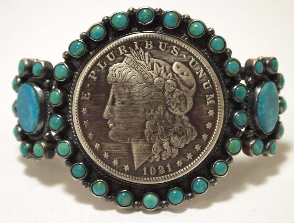 Navajo Turquoise & 1921 Morgan Silver Dollar Sterling Silver Cuff Bracelet - Dean Brown