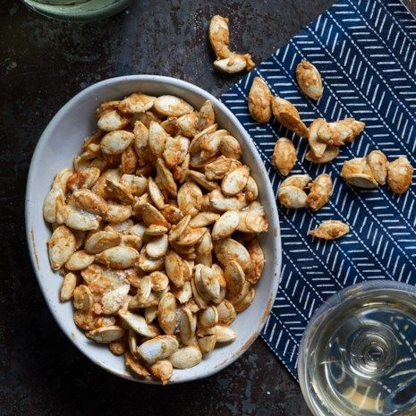 Garlic-Parmesan Roasted Pumpkin Seeds #roastedpumpkinseedsrecipe