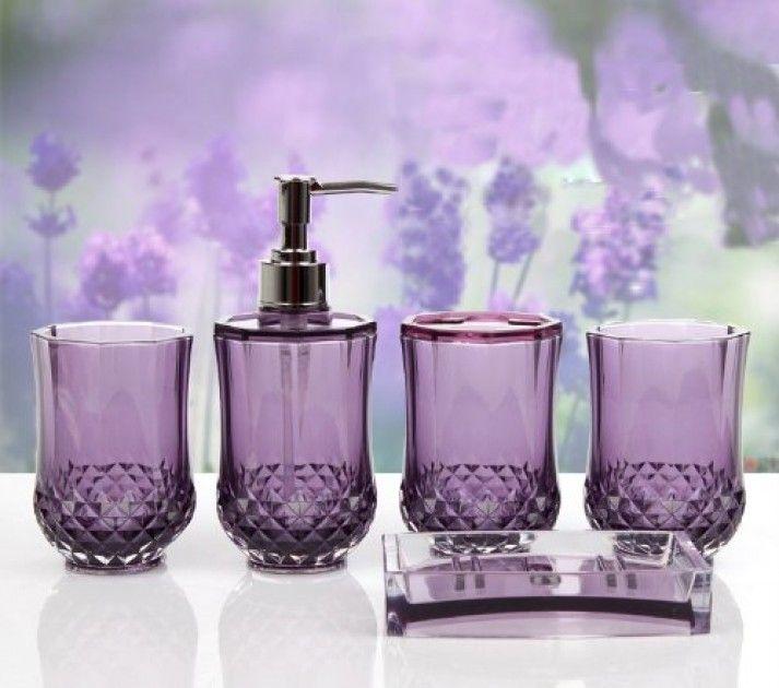 Lavender Bathroom Decor Plan #9 Purple Bathroom Accessories Set By .