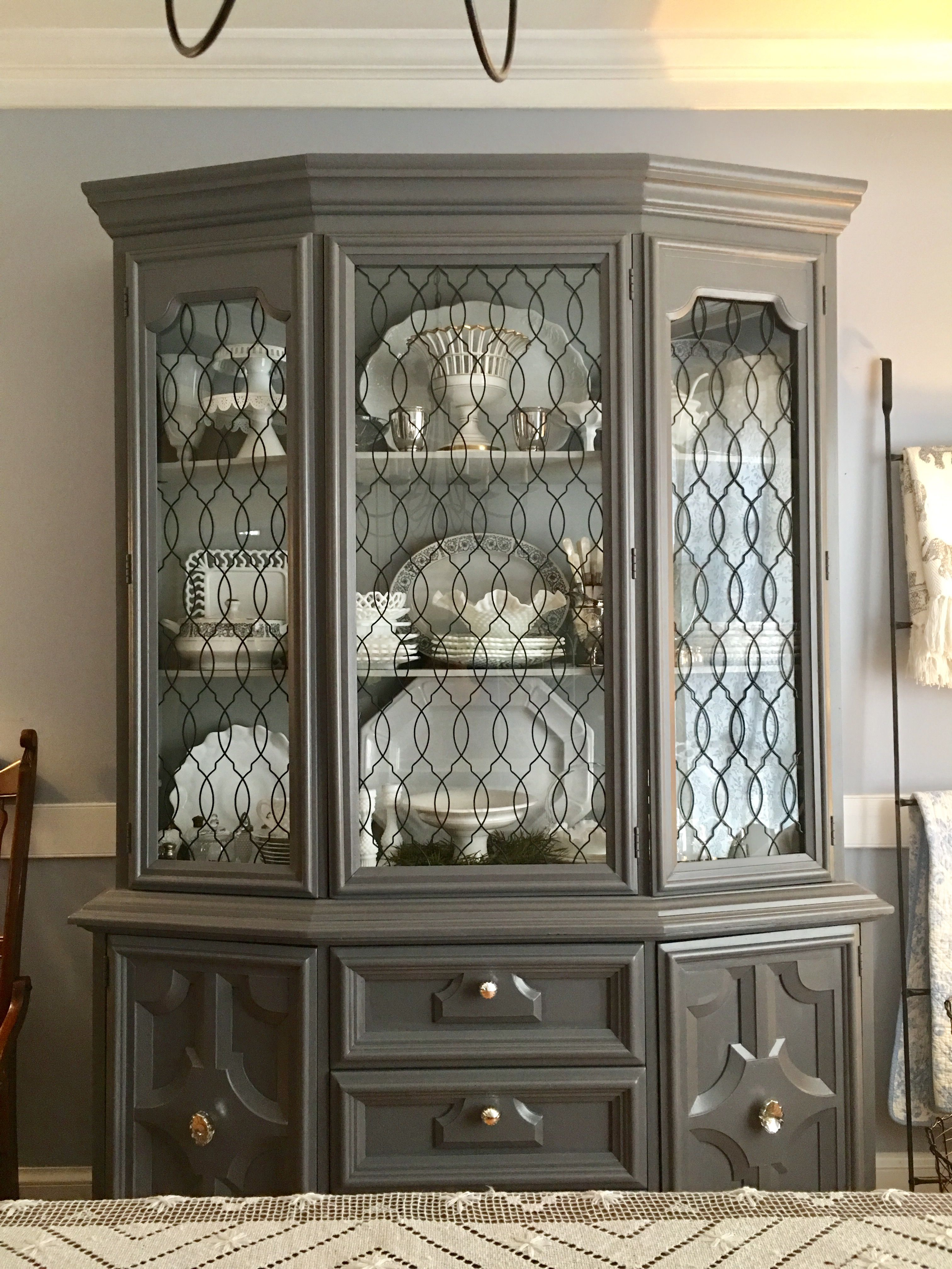 China cabinet painted with General Finishes Driftwood milk ...