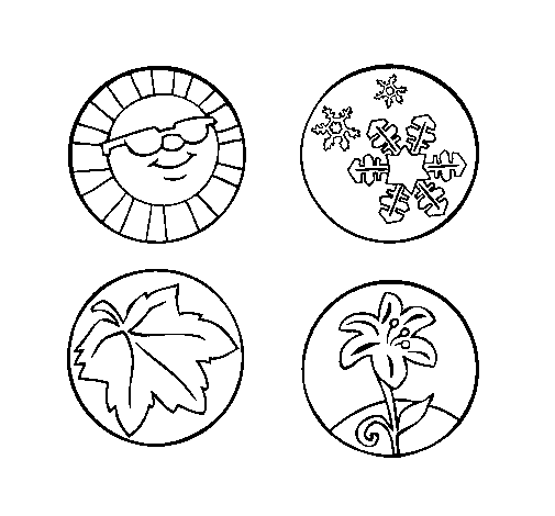 Four circles, Four Seasons coloring pages for kids
