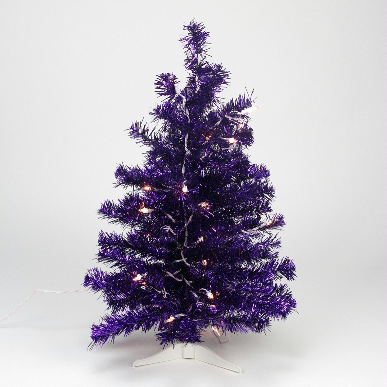 2 Pre Lit Purple Iridescent Pine Artificial Tinsel Christmas Tree