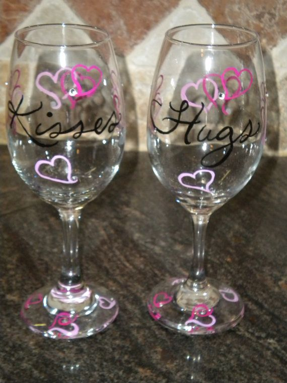 Hand Painted Valentine Wine Glasses Glasses Painted Wine