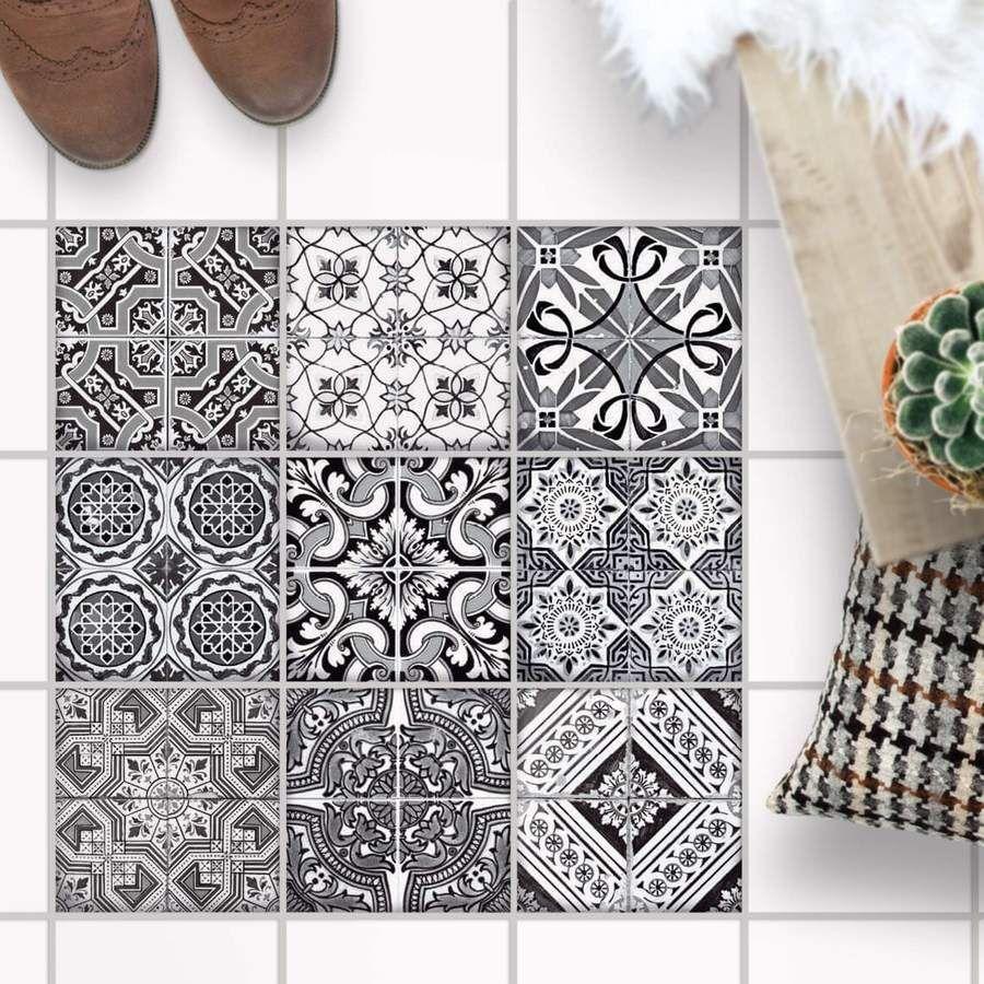 Fliesenaufkleber Boden Fur Kuche Bad Design Black N White Mit Bildern Fliesenaufkleber Fliesenaufkleber Boden Fliesen