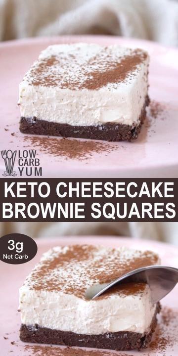 Keto Cream Cheese Brownies Cheesecake Bars