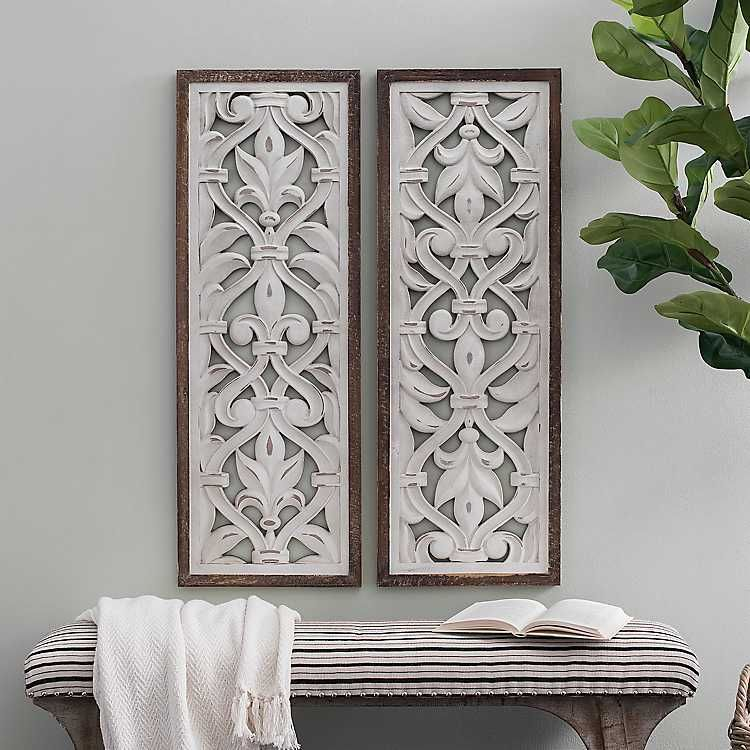 Ornate Baroque Scroll Wood Panel Plaques Set Of 2 Carved Wood Wall Art Wood Panel Wall Decor Decor