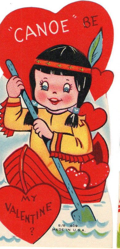 Vintge mcm unused valentine card native american indian girl squaw vintge mcm unused valentine card native american indian girl squaw paddles canoe m4hsunfo