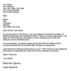 Rawad sami rawadsami on pinterest sample letter formats job offer acceptance letter example thecheapjerseys Gallery