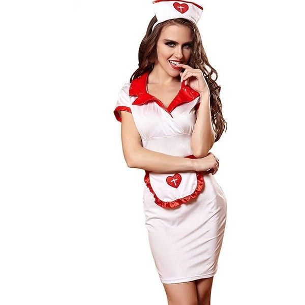 8fa677f2f9a White Nurse Dress Sexy Uniform Cosplay Costume ( 23) ❤ liked on Polyvore  featuring costumes