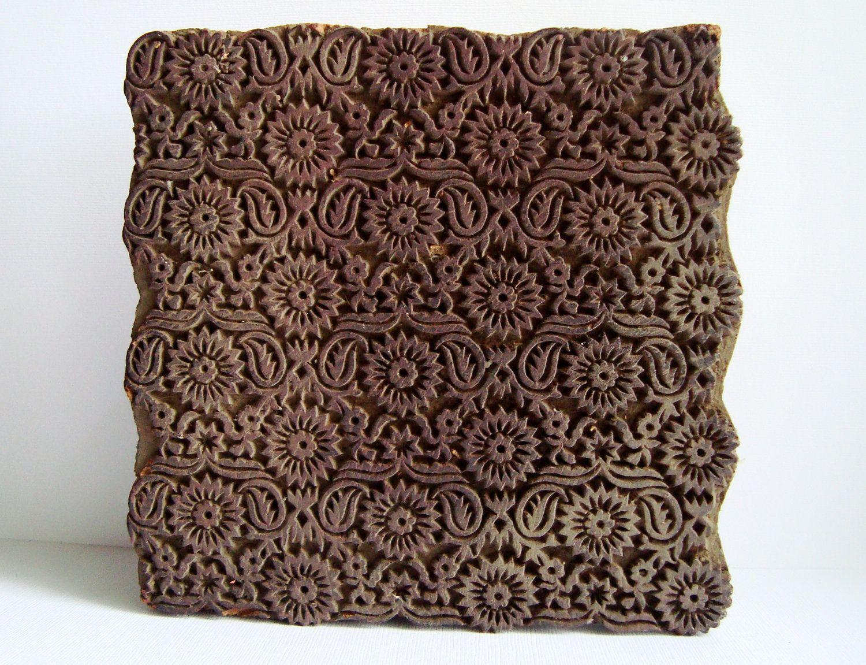 tinny floral wood printing blocks Indian Wooden Block Stamp textile block