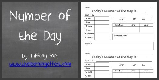 Free Printable Number of the Day Classroom Pinterest Numbers