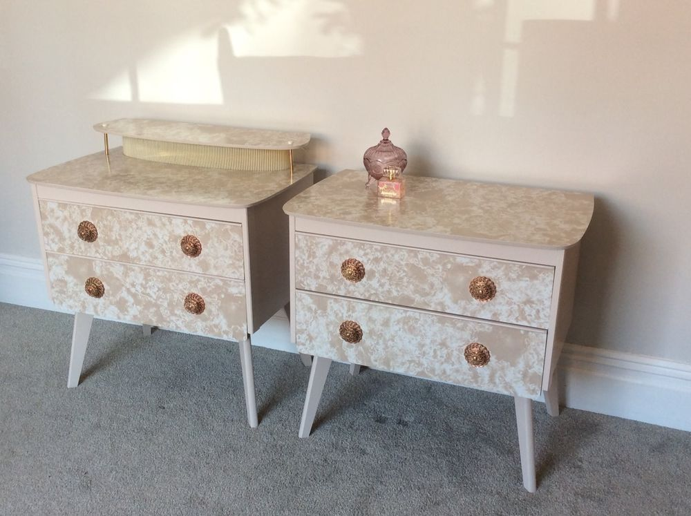 Matching Pair Of Vintage Chest Of Drawers Beige White Side Bedside Table X  2 | EBay Part 66