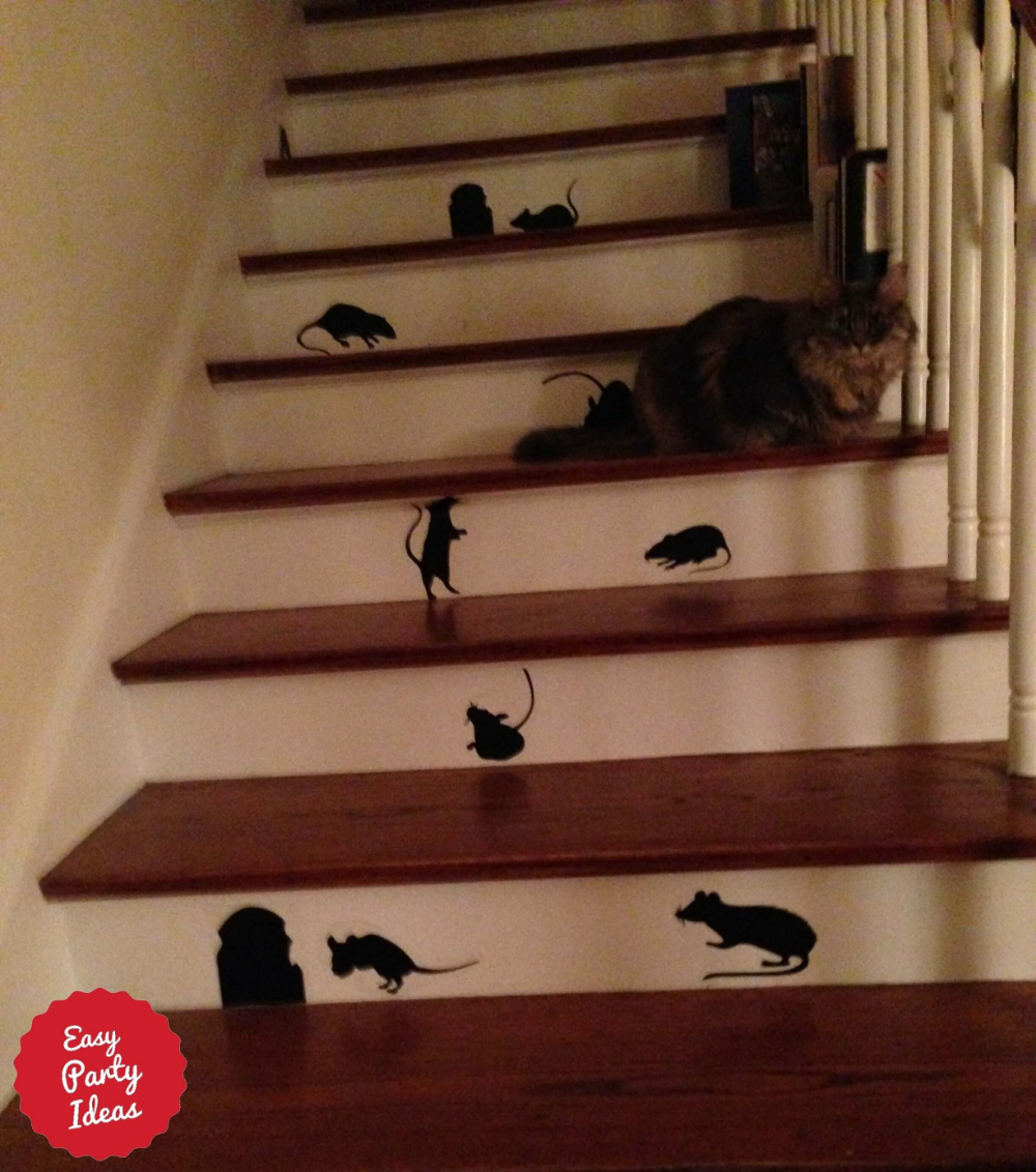 Cute Halloween Decorations! Mice Silhouette On Stairs