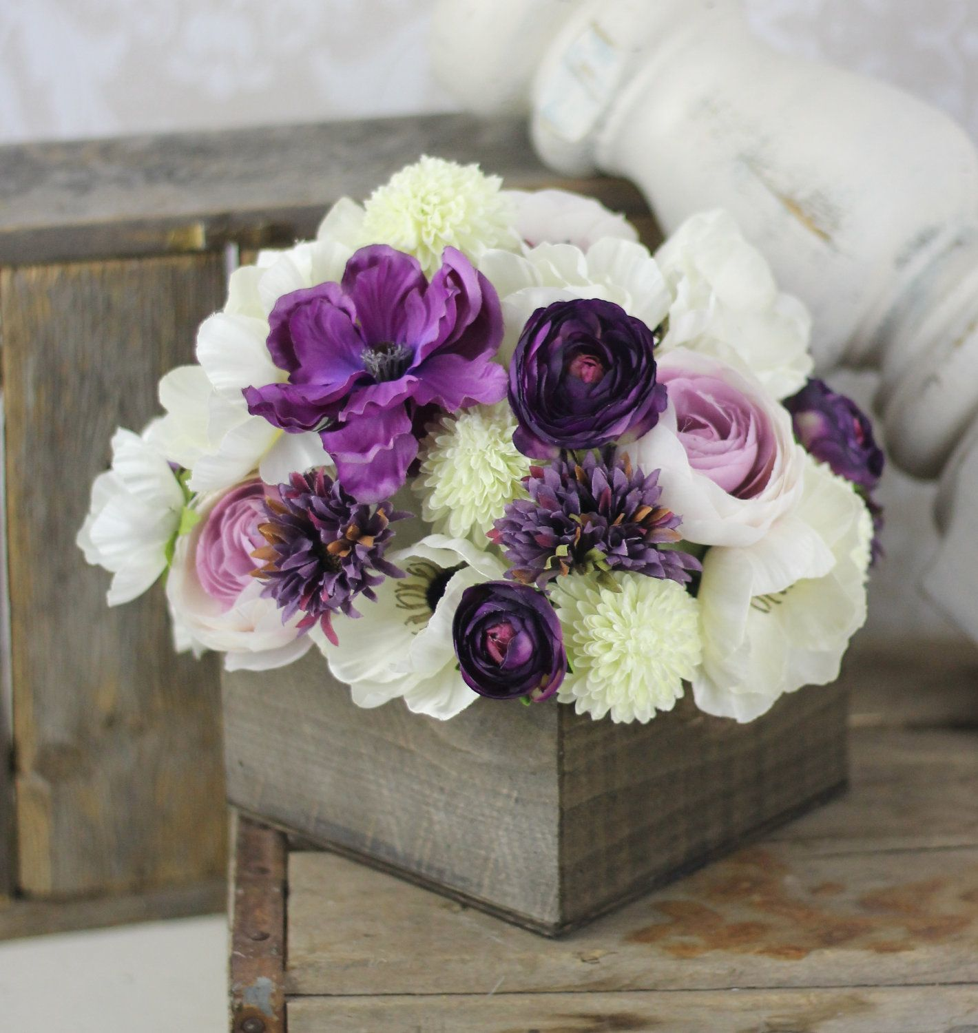Wedding centerpiece arrangement silk flowers rustic chic for Artificial flowers for wedding decoration