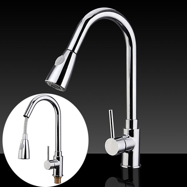 Pull Down Kitchen Faucets Mixer Tap Single-Hole Sink Tap Polished