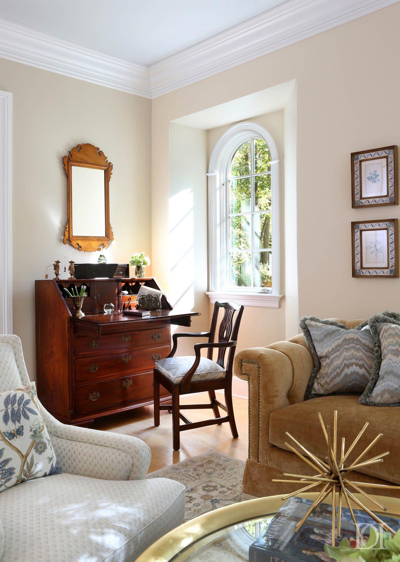 Cradle Rock living room detail antique desk and botanical ...