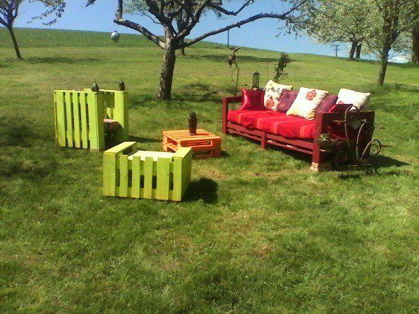 IMG 20130425 142747 600x450 salon de jardin colorido juego de jardín en la paleta muebles de jardín paleta con sofá Pallets Presidente Banco