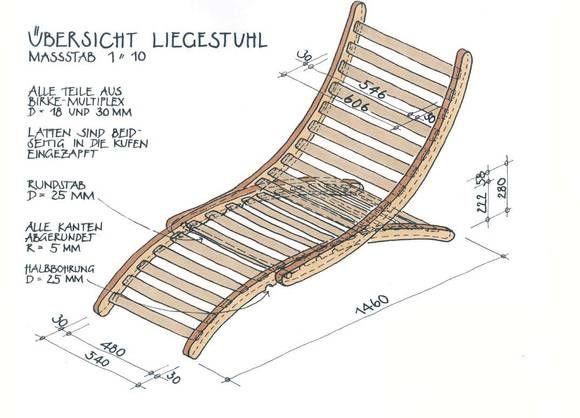 Hochwertiger Bauplan für einen Garten-Liegestuhl aus Holz - relaxliege holz bauanleitung
