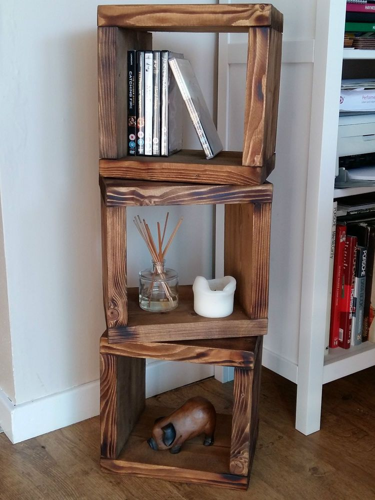 Chunky Solid Wood 3 Cube Shelf Unit Wall Freestanding New