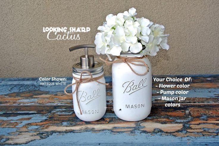 Set of 2 Rustic Mason Jar Dish or Hand Soap Dispensers  Farmhouse Home Decor  Set of 2 Rustic Mason Jar Dish or Hand Soap Dispensers  Farmhouse Home Decor