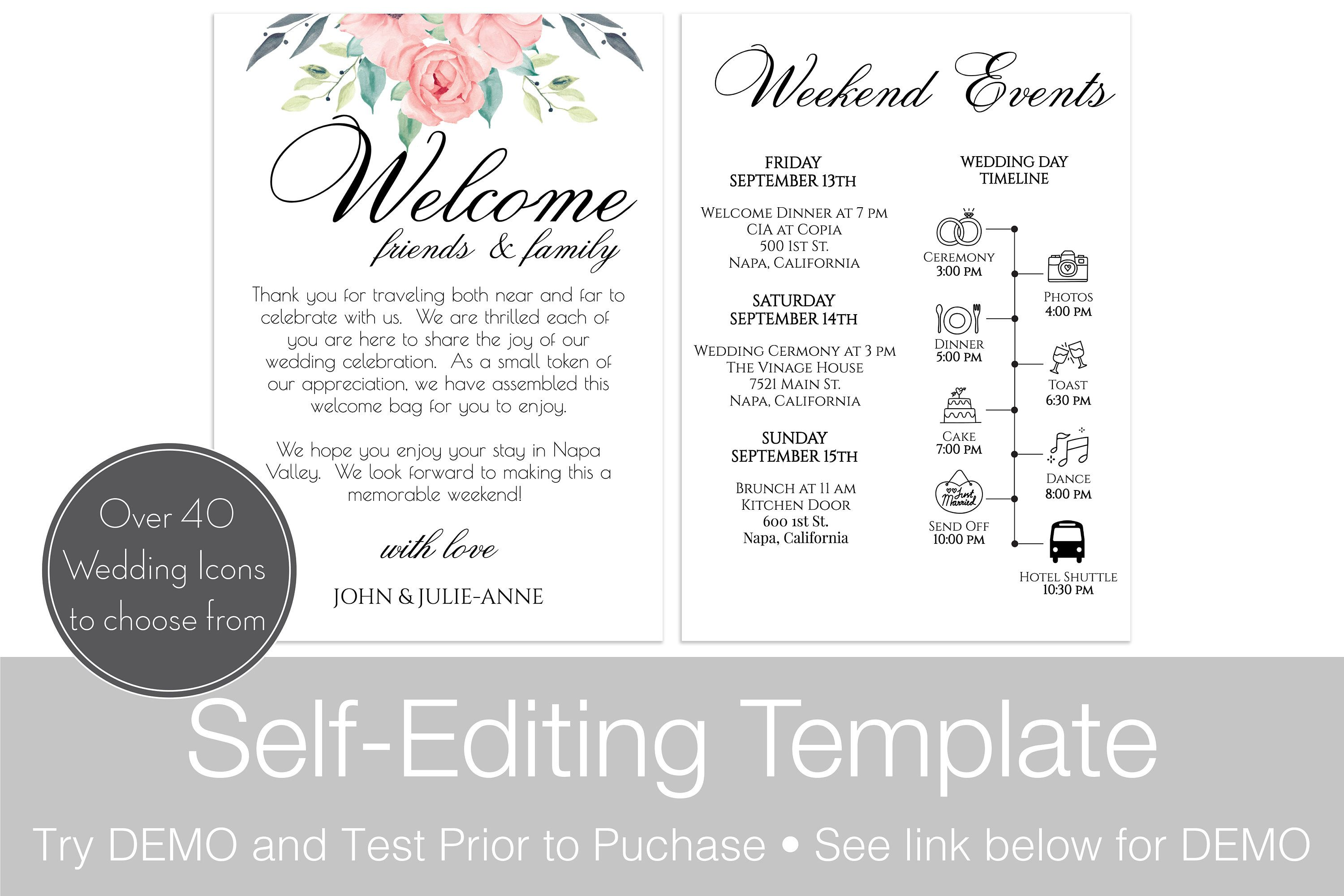 Wedding Itinerary Card Template Printable Timeline Welcome Bag Letter 100 Editable Agenda Diy Blush Florals Instant Download Ppw0220 Wedding Itinerary Wedding Timeline Template Diy Agenda
