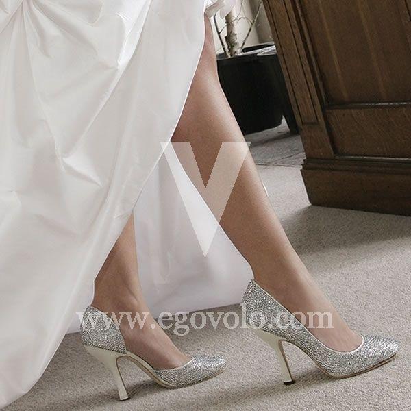 58bd4e9546 Zapatos de Novia plateados Gaga