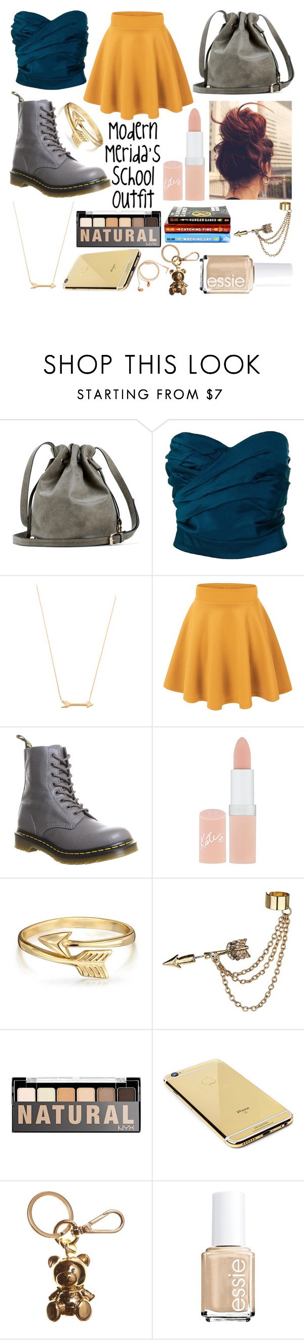 """Modern Merida's School Outfit"" by fangirl-0606 ❤ liked on Polyvore featuring Marc by Marc Jacobs, Jennifer Zeuner, Dr. Martens, Rimmel, Bling Jewelry, Emi Jewellery, Goldgenie, Moschino, Essie and Happy Plugs"