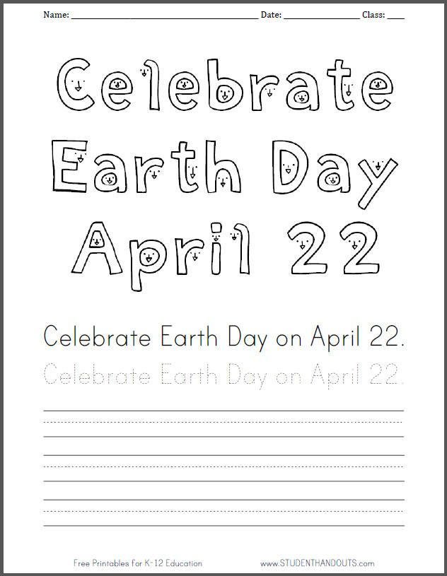Celebrate EARTH DAY April Coloring Sheet With Handwriting Practice In Print Manuscript Or Cursive Script Free To PDF File