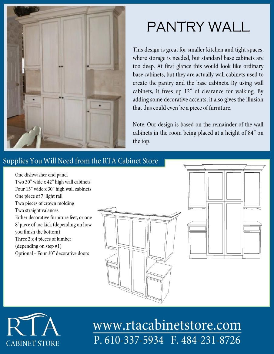 Creating a custom-look for a pantry wall using rta cabinets (step-by-step instructions).  There are two pages, so for the second page head over to http://www.rtacabinetstore.com and click on design ideas under any of the rta cabinet lines.