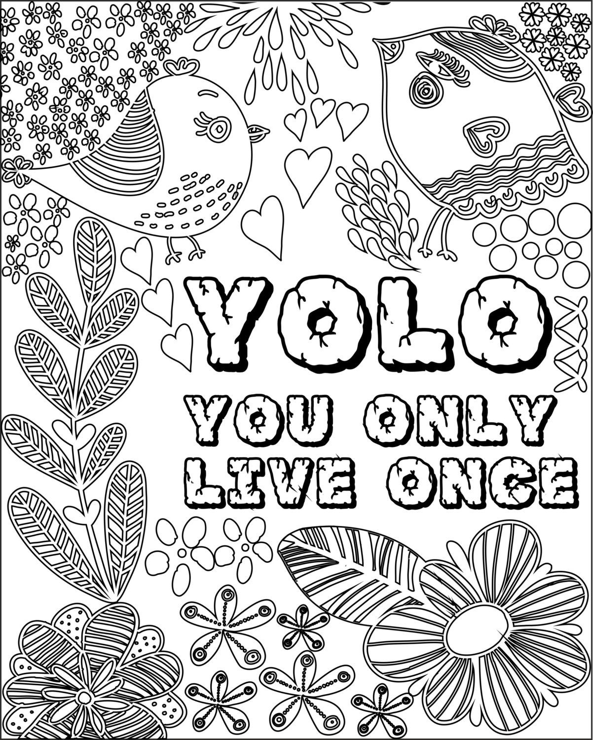 Inspirational Fun Quotes Colouring Pages (Set of 6)  Quote