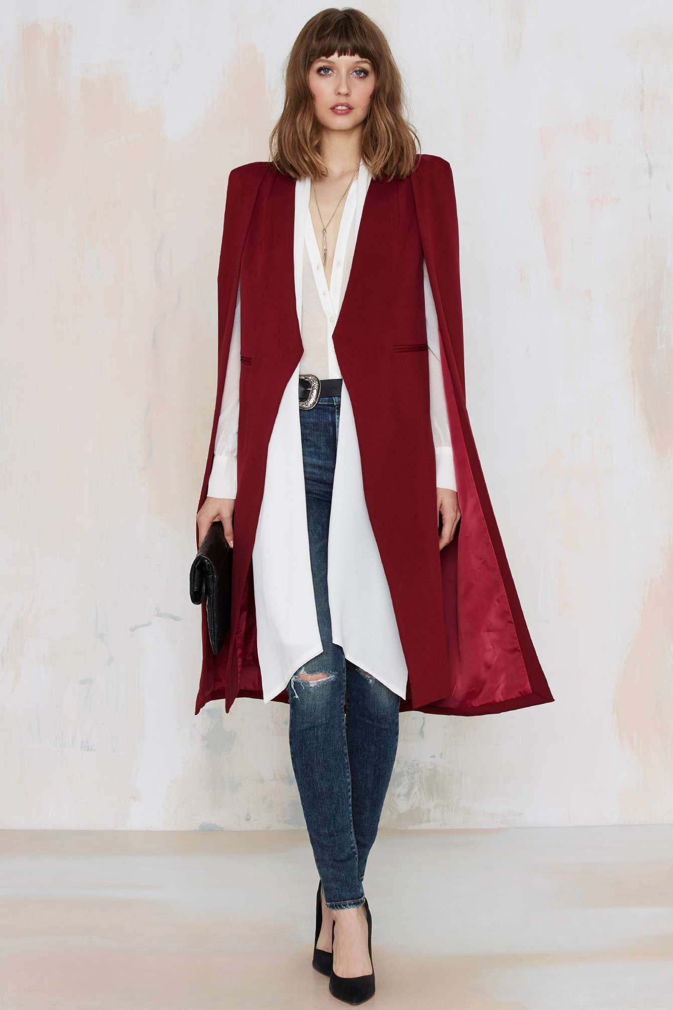 Lavish Alice On the Fly Cape Jacket - Burgundy | Shop Clothes at Nasty Gal!