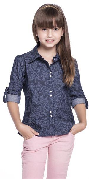 5a4bba2767761 camisa jeans infantil menina - Pesquisa Google