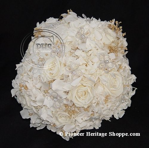 Heritage Wedding Bouquets ~ Hydrangea Flower Girl Bouquet ~ Communion Bouquet ~ Preserved Hydrangea Wedding Flowers and Special Occasion Flowers at Pioneer Heritage Shoppe
