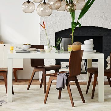 Parsons Dining Table Rectangle Westelm Available In White