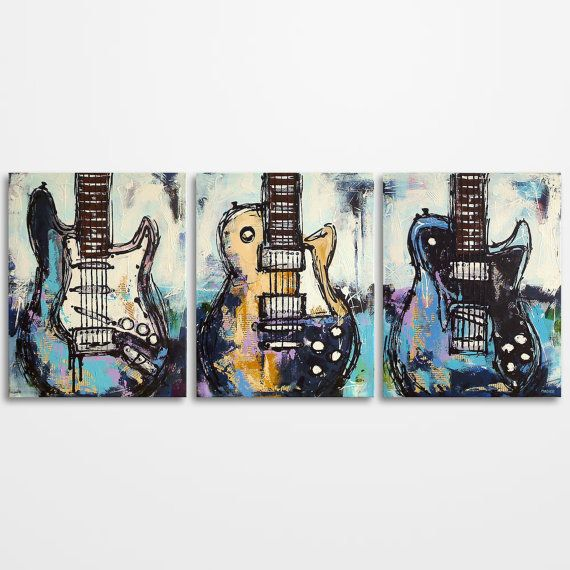Original distressed mixed media guitar painting on canvas by MagierFineArt
