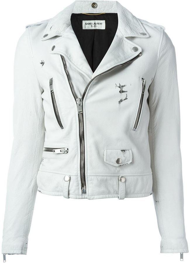 190a497180 Saint Laurent cropped biker jacket | Yves Saint Laurent sale woman ...
