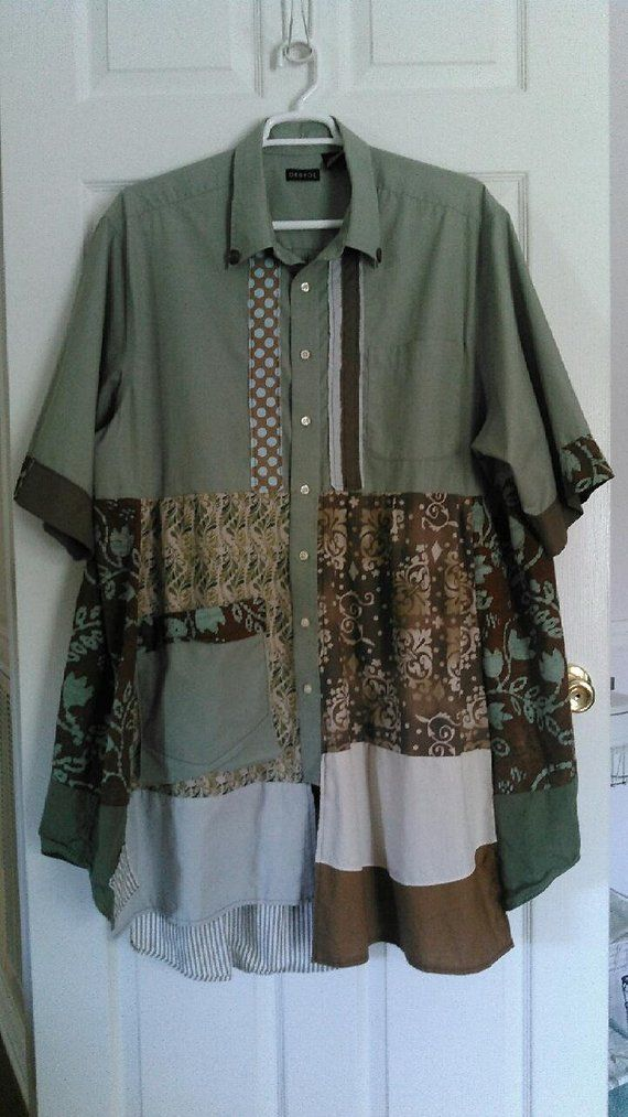 7c9e2c5241ef Custom made upcycled tunic in trendy green and brown color scheme ...