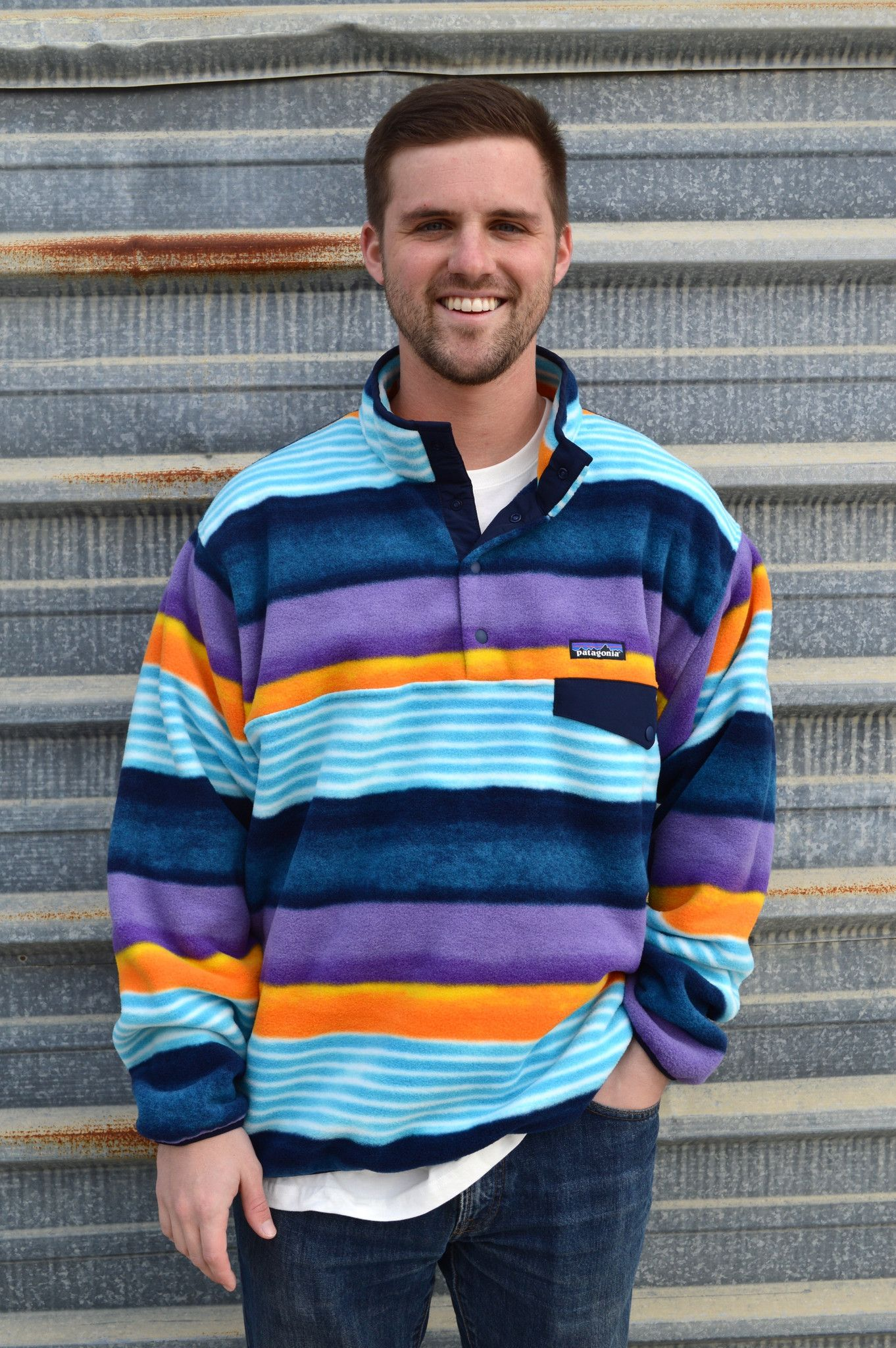 Patagonia Men s Lightweight Synchilla Snap-T Pullover- Painted Fitz Stripe-  Navy Blue from Shop Southern Roots TX 235901f4a3d7