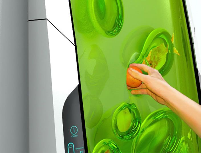 Futuristic Biopolymer Gel Fridge - Four times smaller than a conventional refrigerator, the Bio Robot cools biopolymer gel through luminescence. Rather than shelves, the non sticky, odourless gel morphs around products to create a separate pod that suspends items for easy access. Without doors, draws and a motor 90% of the appliance is solely given over to its intended purpose.