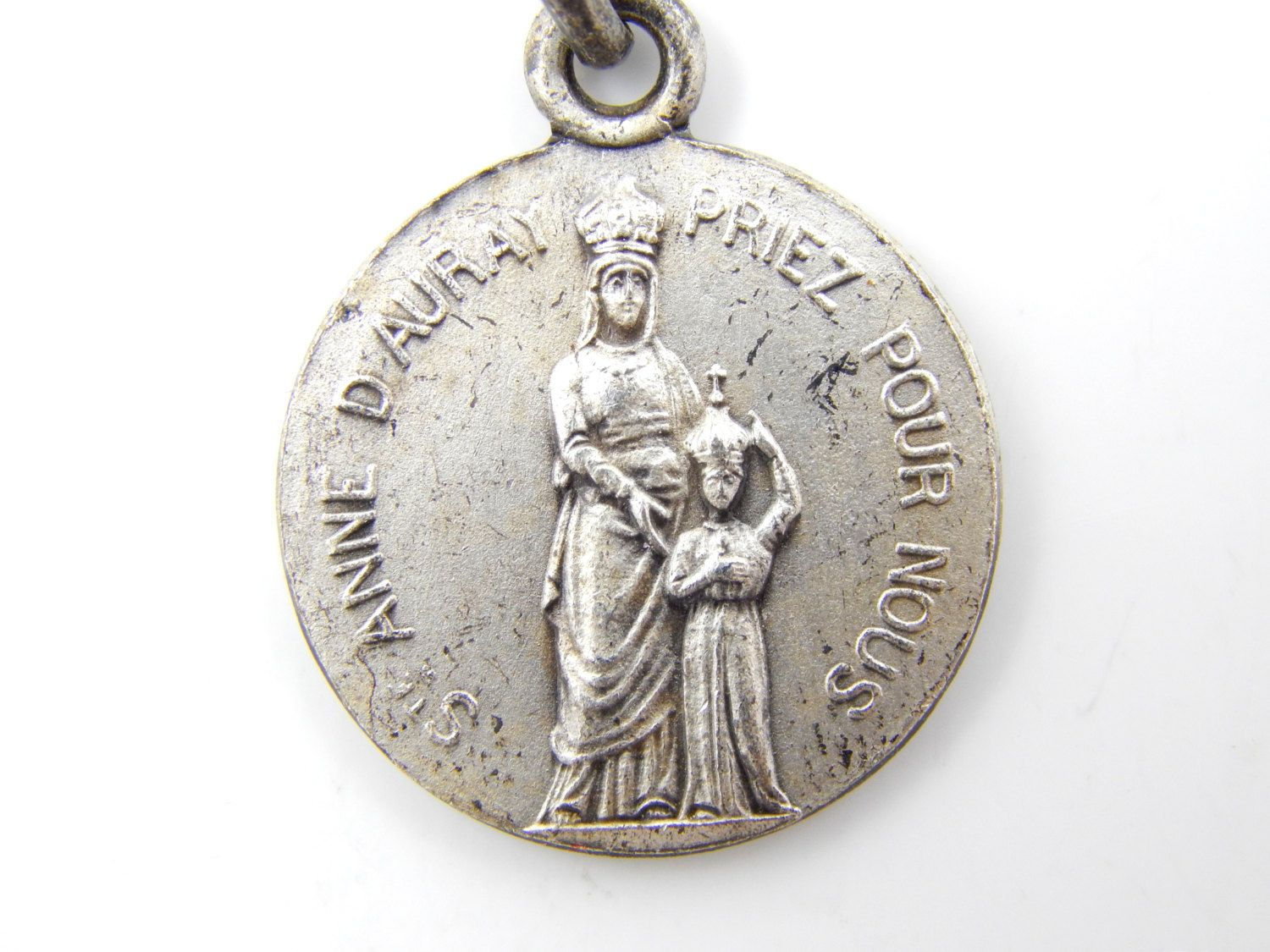catholic family medal charm holy dove christian religious pin vintage medallion rosary