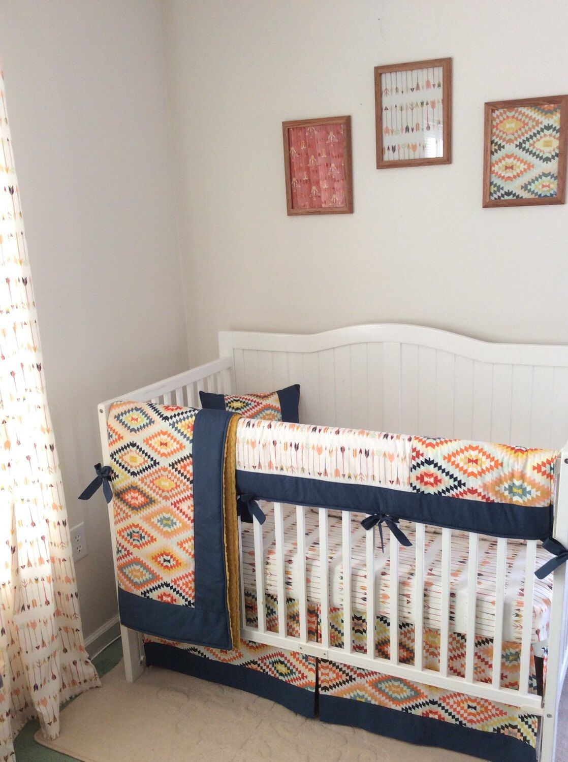 etsy crib boy navy baby set cream and order sante tribal listing com to mint pin fe made gold bedding