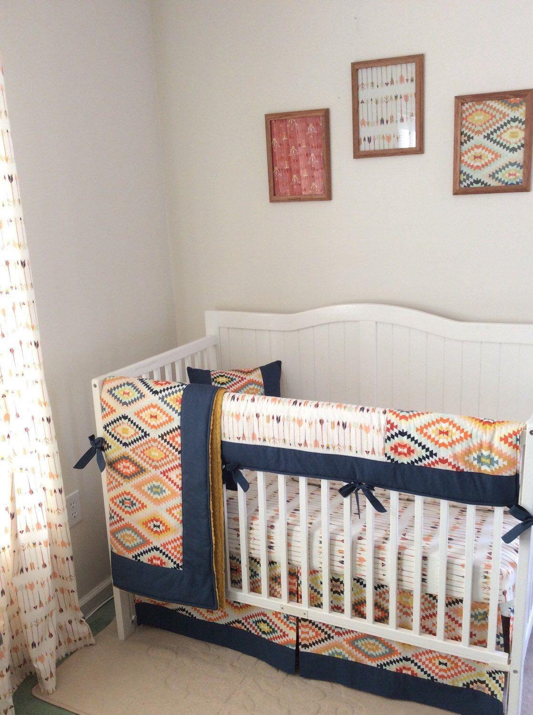 Navy gold mint and cream baby boy tribal crib set wwwetsycom