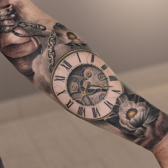 Realistic pocket watch tattoo  Incorporating a watch to symbolize time reminds us of how precious ...